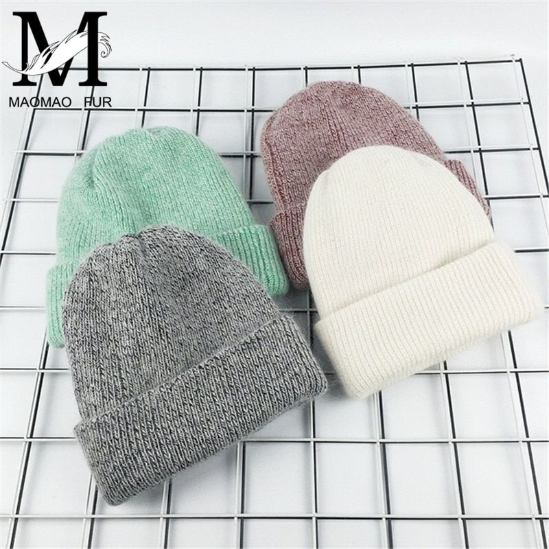 2017 New Winter Hat for Women Rabbit Cashmere Knitted Beanies Thick Warm Vogue Ladies Wool Angora Hat Female Beanie Hats