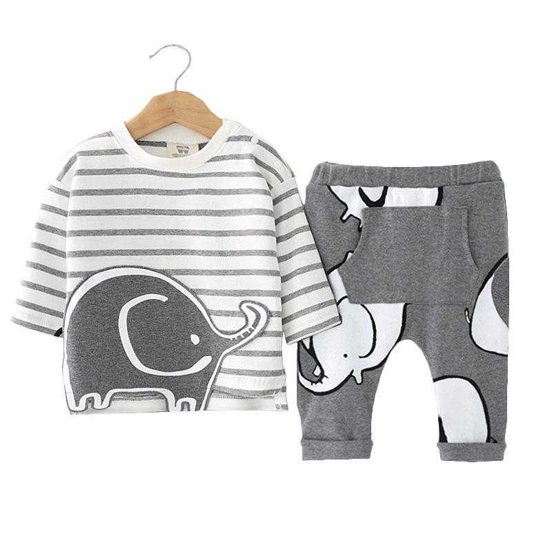 Newborn Baby Clothing Sets Girls Boys Clothes Cute Animal Elephant Long Sleeve Striped T-shirts+Pant 2pcs Suit Roupas De Bebes