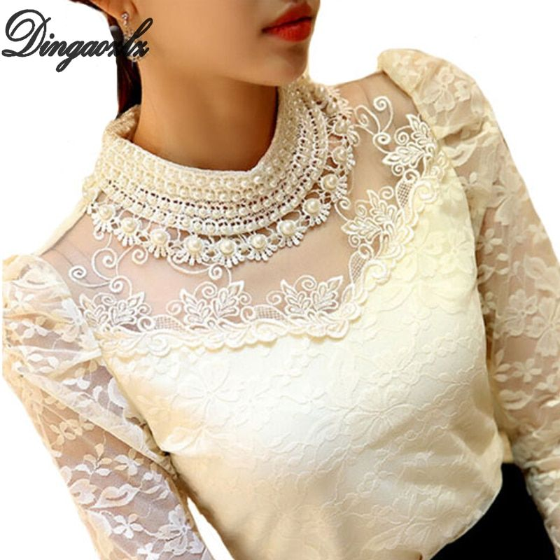 Dingaozlz élégant à manches longues body perlé femmes dentelle blouse chemises crochet hauts blusas maille mousseline de soie blouse femme vêtements