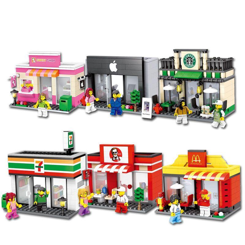 Mini ville rue magasin de jouets magasin de détail modèle 3D McDonald KFCE café Apple Miniature bloc de construction pour enfant compatible
