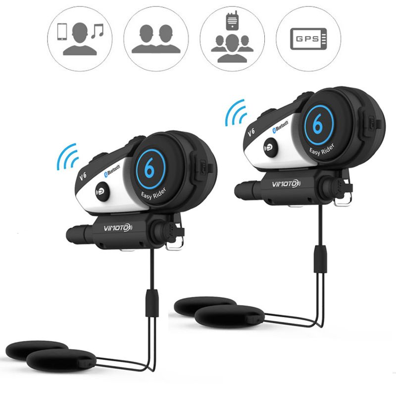 2pcs/lot 600mAh vimoto V6 Motorcycle Helmet Headset Bluetooth Stereo Headphone Multipoint Connection BT Interphone