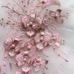 1 Piece 30*15cm Elegant 3D Flower Embroiderey Pearl Beaded Lace Applique Lace Trim Dress Fabrics Material Gold/Champagne/Pink