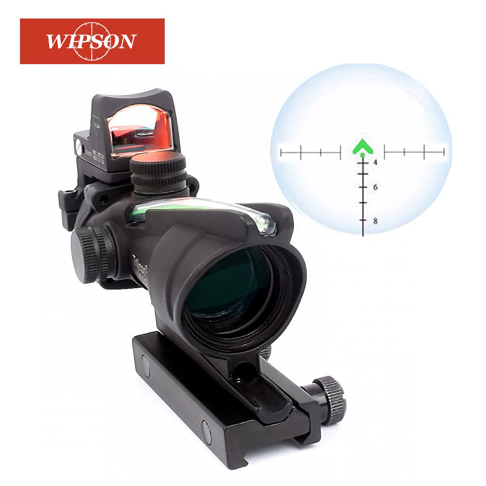 WIPSON ACOG 4X32 Optic Scope Zielfernrohr CAHEVRON Absehen Faser Rot Beleuchtet Optic Anblick Mit RMR Mini Red Dot anblick 20mm Schiene