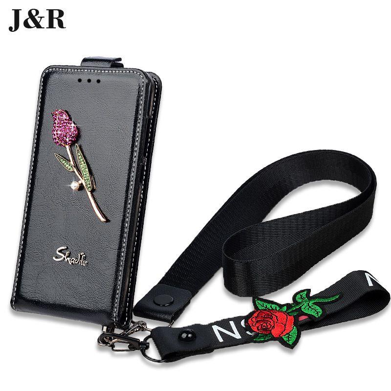 Luxe Bling Cristal Diamant Rose Cas Pour iPhone 6 6 s 7 8 Plus X 10 BRICOLAGE PU Cuir Flip Housse De Protection Téléphone Cas avec sangle