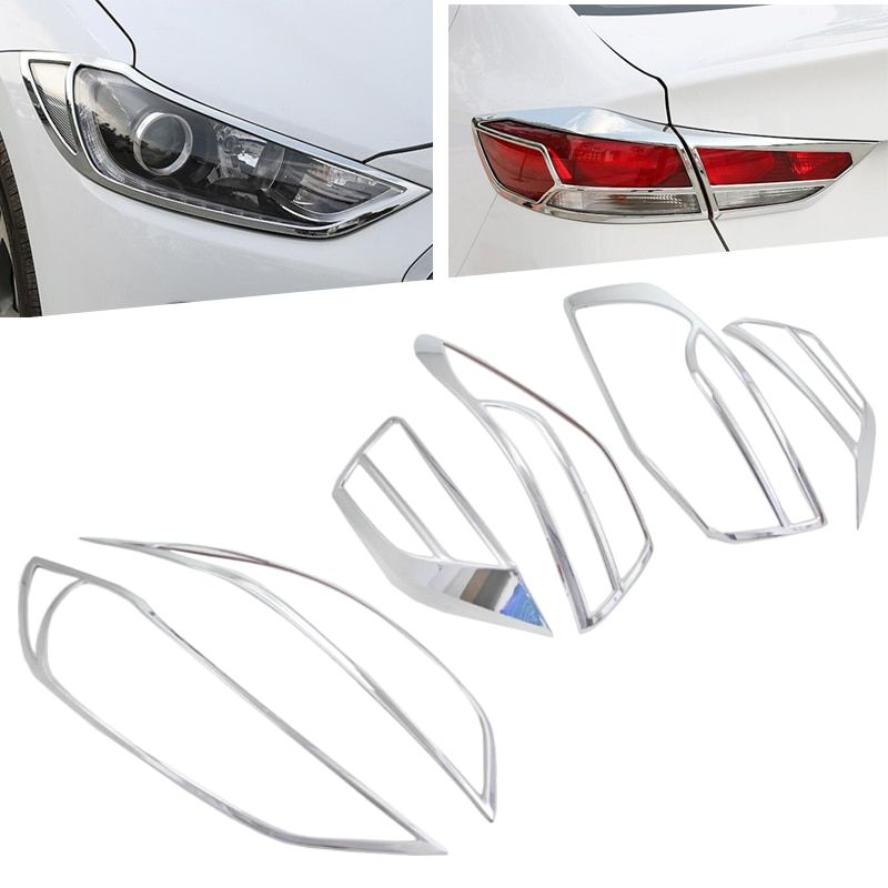 Front Lamp Cover Headlight Cover +Black Tail Light Rear Lights Decorate Cover Trim ABS Chrome For Hyundai Elantra 2017 2018