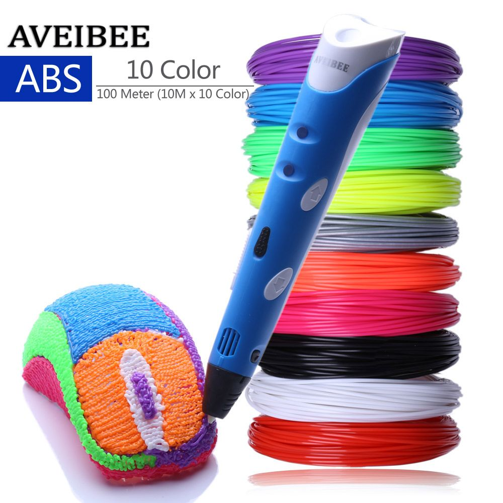 Blue Model 3D Pens 3 D Printing Pen With 10 Color 100 Meter ABS Filament Plastic Creative Gift For Design Painting Drawing