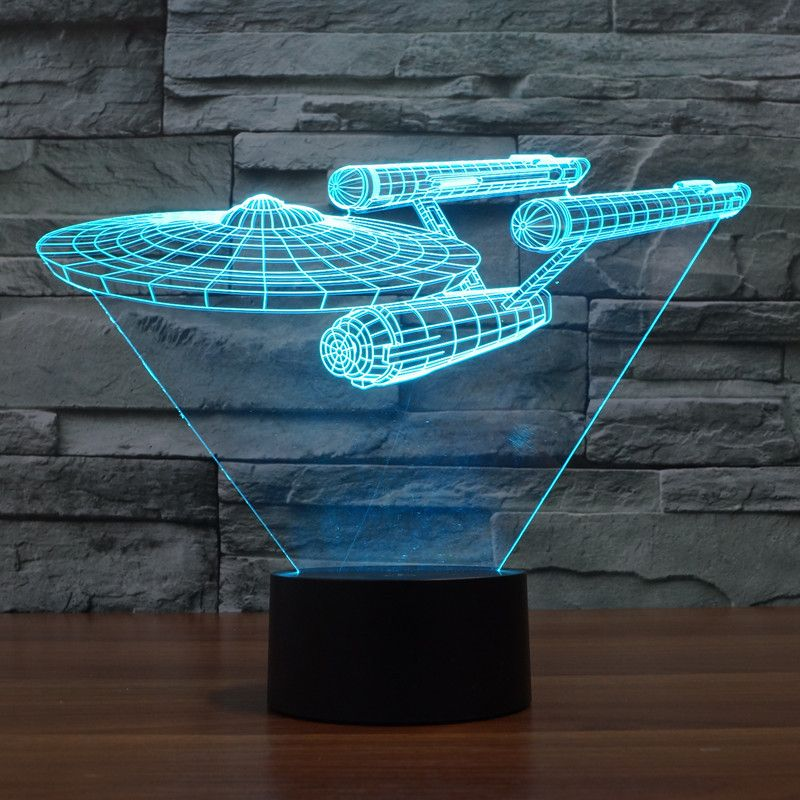 Novelty 3D Night Light Star Trek Warship 7 Colors Changeable 3D Visual LED Night Lamp Touch USB Table Lampara For Kids