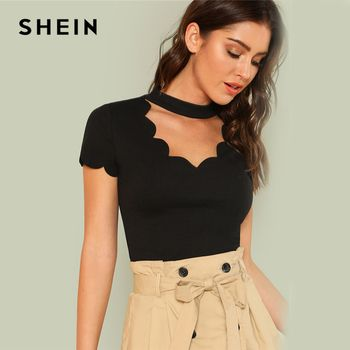 SHEIN Elegant Mock Neck Scallop Trim Cut Out V Collar Short Sleeve Solid Tee Summer Women Weekend Casual T-shirt Top