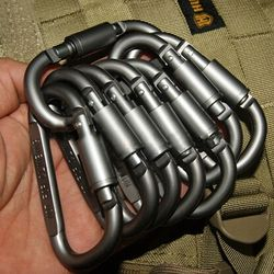 5 Mosquetão De Alumínio Equipamento Equipamento de Caça Kit de Sobrevivência de Acampamento ao ar livre Ferramenta de Bloqueio D-Ring Keychain Camping Keychain