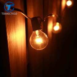 Transctego Malam Retro Taman Dekoratif Lampu Tali Dalam Luar Ruangan Pernikahan Europe G40 Bohlam Kaca Untaian Pesta Cafe Shop