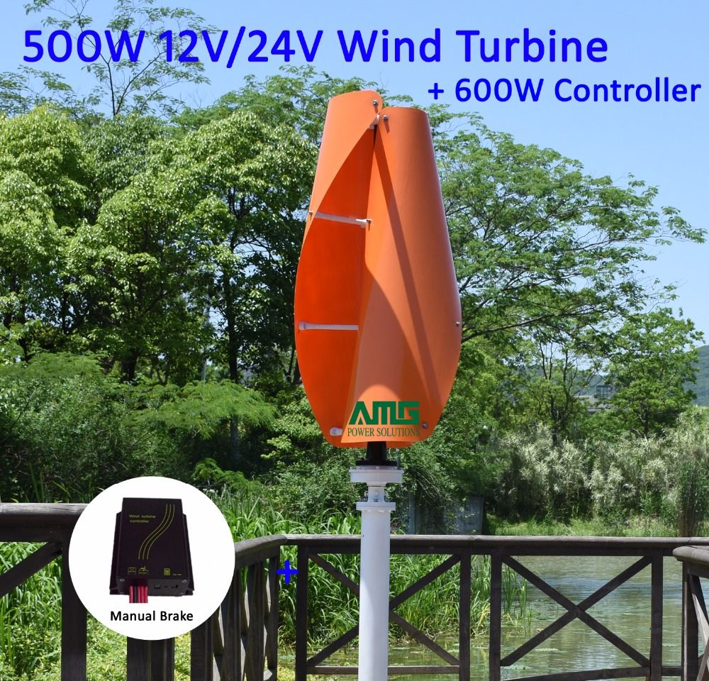 400W500W600W 12V/24V VAWT Vertical Wind Turbine Generator Axis Residential Home use Mill + 600W Waterproof Charger Controller