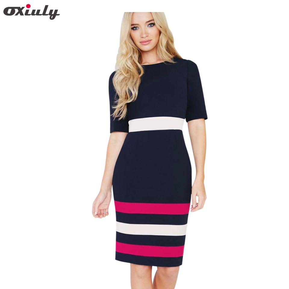 Oxiuly été bureau dame couleur contraste Patchwork robe ajustée décontracté manches courtes Zip dos bleu foncé Chic travail robe crayon