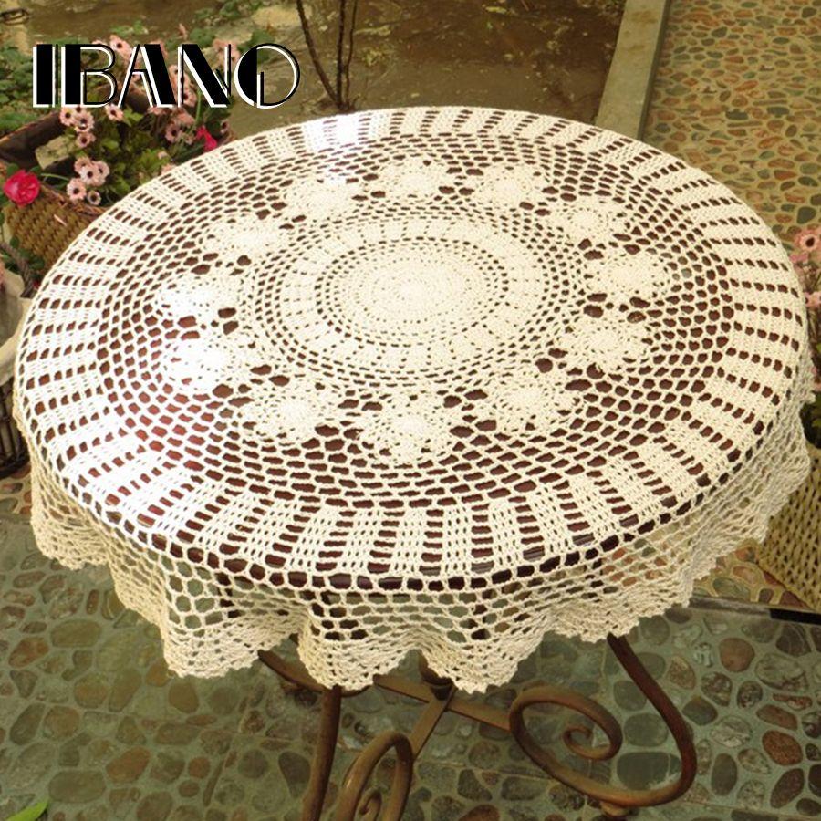 Napperon fait main Vintage Crochet sous-verres coton dentelle tapis napperon 70/80/90/100/110 CM RD Shabby Chic bricolage nappe au Crochet