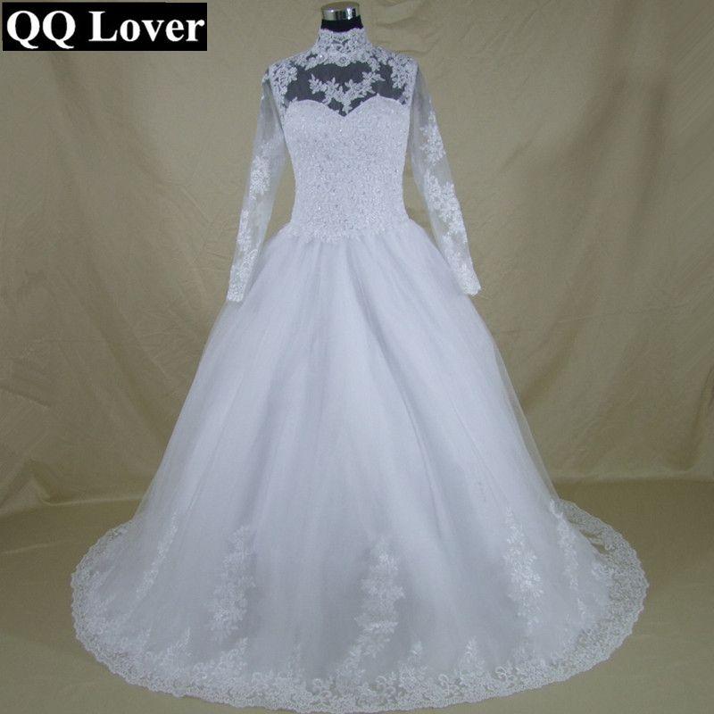 QQ Lover 2017 High Neck Long Sleeve Lace Up Back Wedding Dress Lace Ball Gown Wedding Gowns Appliques Vestido De Noiva