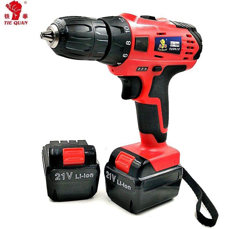 21 v tournevis avec 2 batteries outils électriques Double vitesse perceuse électrique Batteries perceuse Mini perceuse tournevis outils électriques