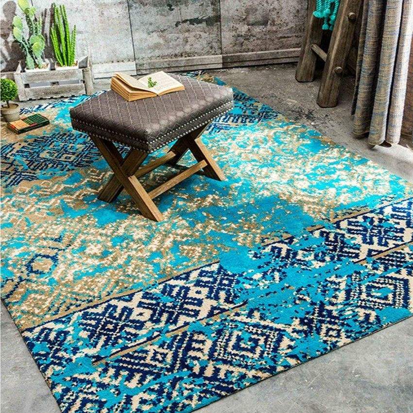 Mediterranean blue style wedding carpet , blue living room ground mat 200*300cm, bedside rug home decoration carpet