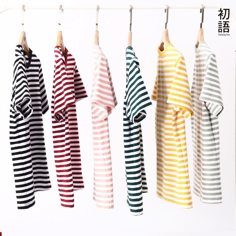 Toyouth 2018 Summer Tops Cotton Short Sleeve Stripe Slim T Shirts Casual O-Neck Female T-shirt Simple Streetwear Tee Shirt Femme