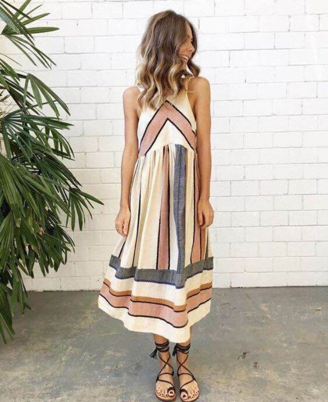 2018 Hot Sale Brand New Women Summer Dress <font><b>Plus</b></font> Size O Neck Sleeveless Long Dress Boho Beach Print Stripe A Line Dresses Vestido