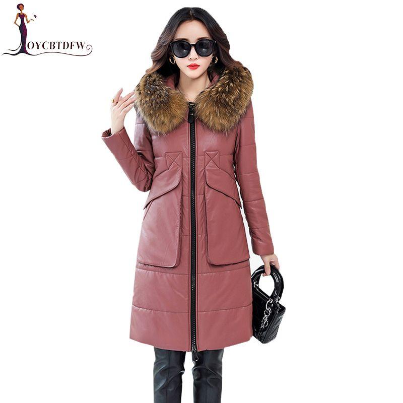 2018 New Leather Down Jacket Women Long Parka Winter Fashion Sheep Leather Slim Big pocket Raccoon fur collar Feminino Outerwear