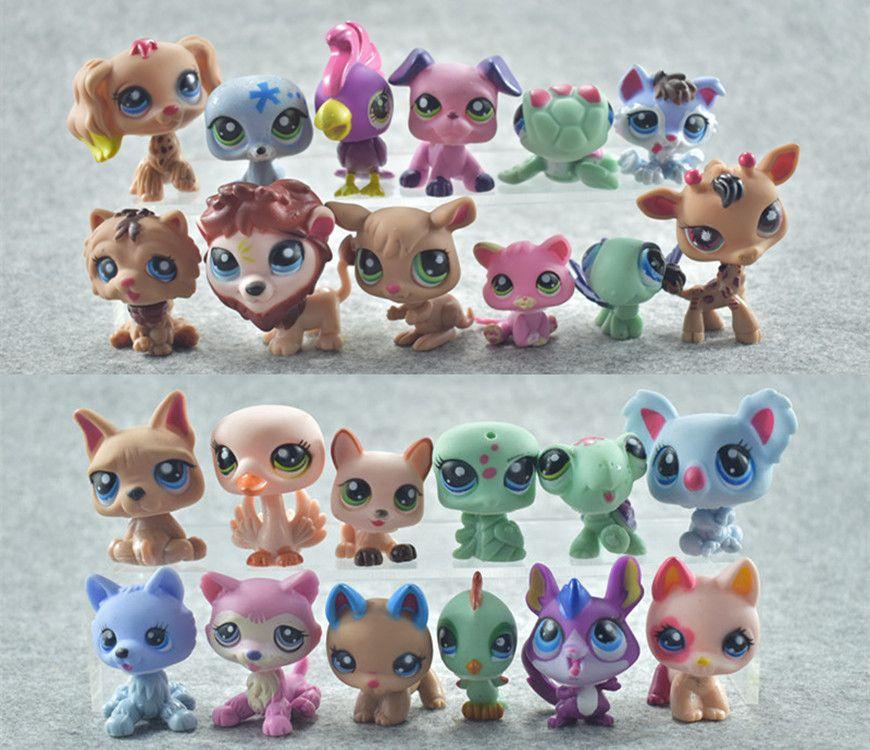 QWOK 24Pcs/set LPS Dolls Rare Pet Shop Action & Toy Figures Tiger Cat Lps Dog Dachshund Collie Cat Patrulla Canina