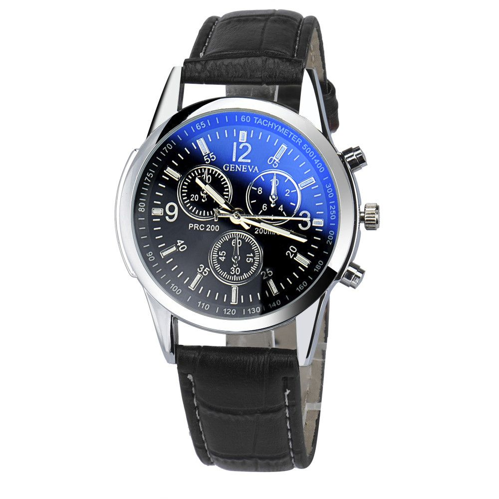 Relogio Masculino Luxury Fashion Faux Leather Mens Quartz Clock Analog Watch Blue-ray Cheap Sports wristwatch relogio male