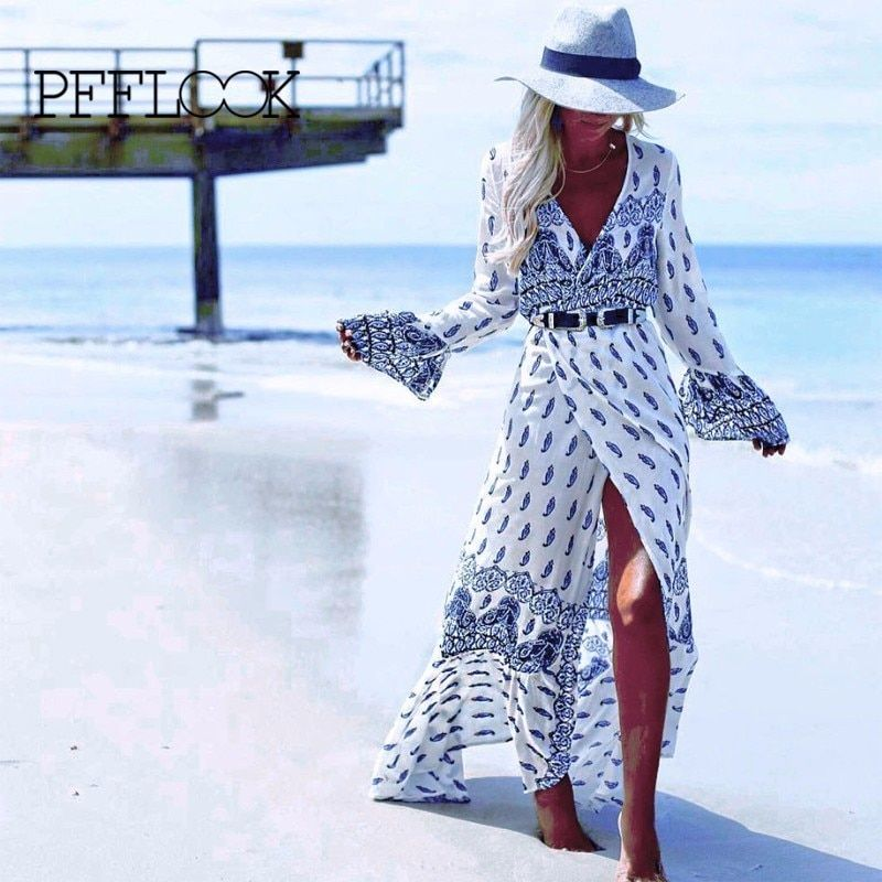 PFFLOOK 2018 Neue Sommer Frauen Retro Gedruckt Kleid Beachwear Strand Tunika Kleid Sarongs Sexy Badeanzug Badeanzug Robe Freies Schiff