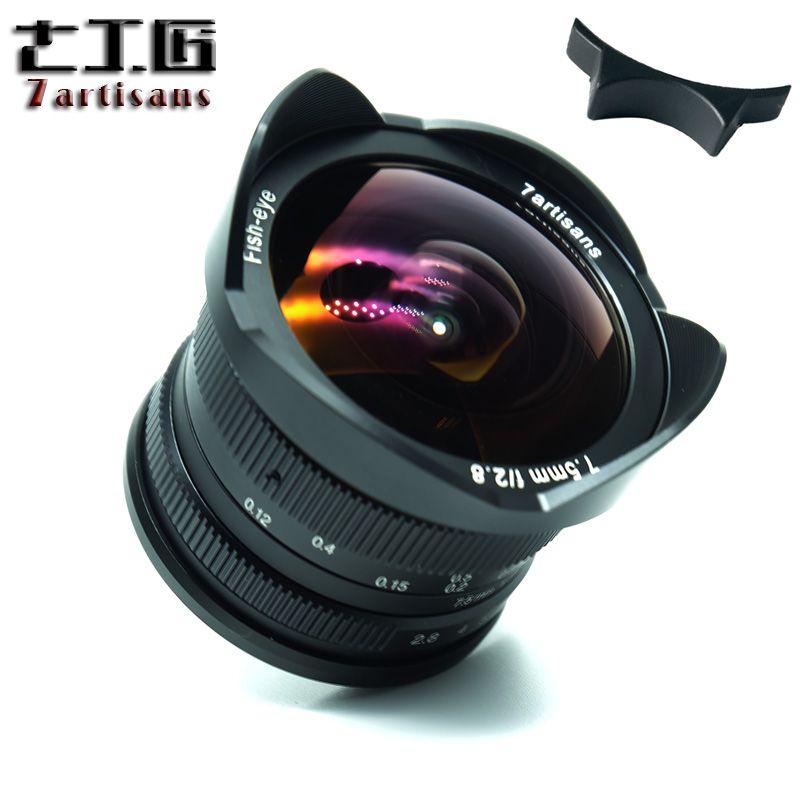 7 artisans 7.5mm f2.8 objectif fisheye 180 APS-C Manuel Objectif Fixe Pour E Montage Canon EOS-M Mont Fuji FX Mont Chaude Vente Livraison gratuite