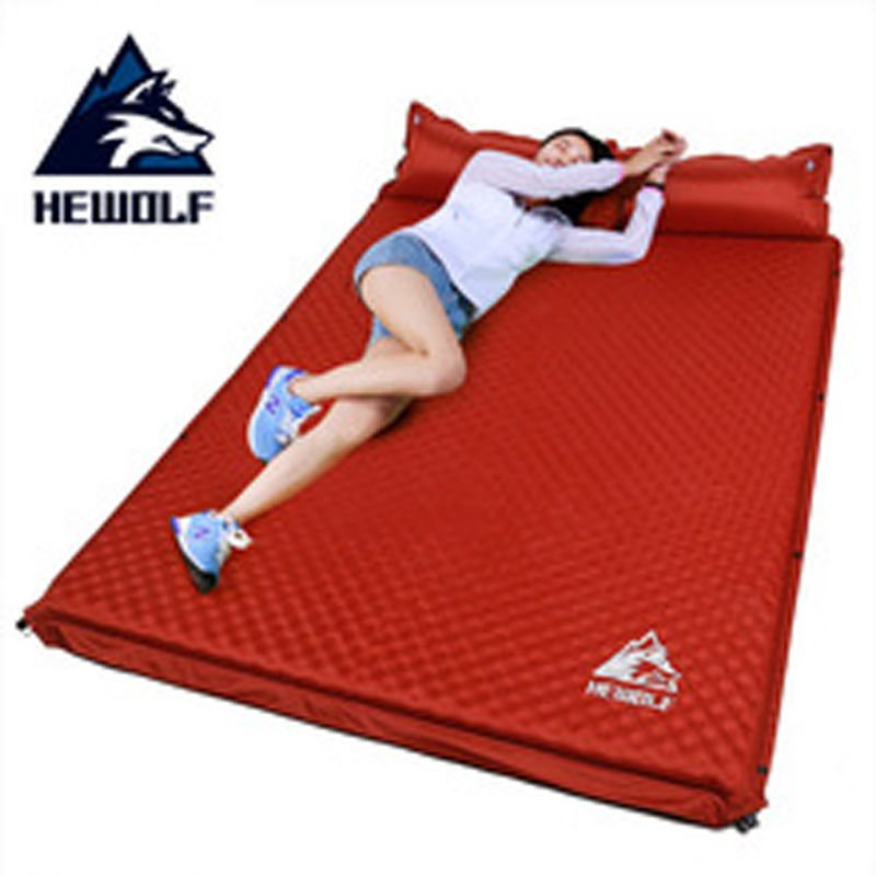 Hewolf Outdoor Thick 5cm Automatic Inflatable Cushion Pad Outdoor Tent Camping Mats Double Inflatable Bed Mattress 2 Colors