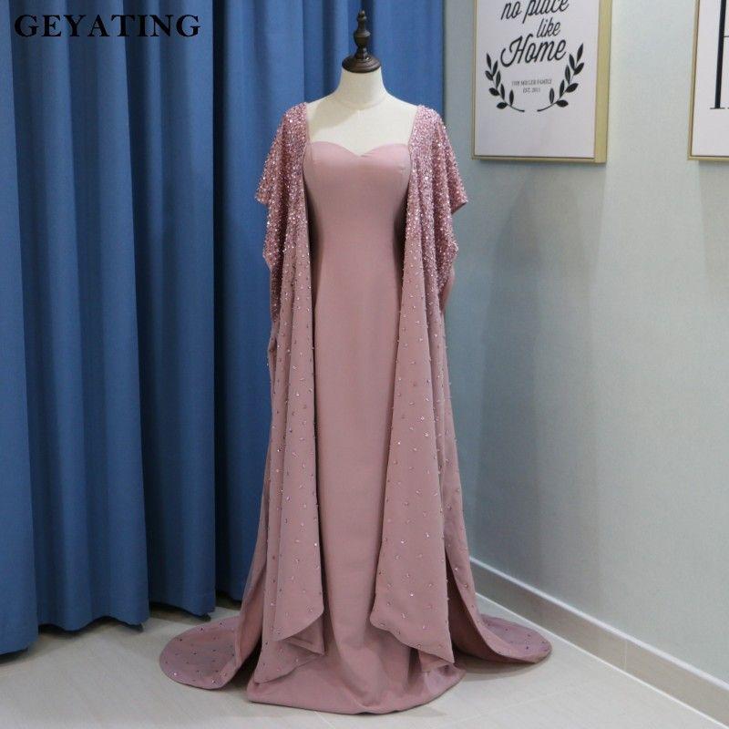 Schweres Wulstiges Schmutzig Rosa Arabisch Abendkleid mit Cape Sleeve Yousef Prom Kleider 2018 Robe dubai Soiree Formale Lange Partykleider kleider