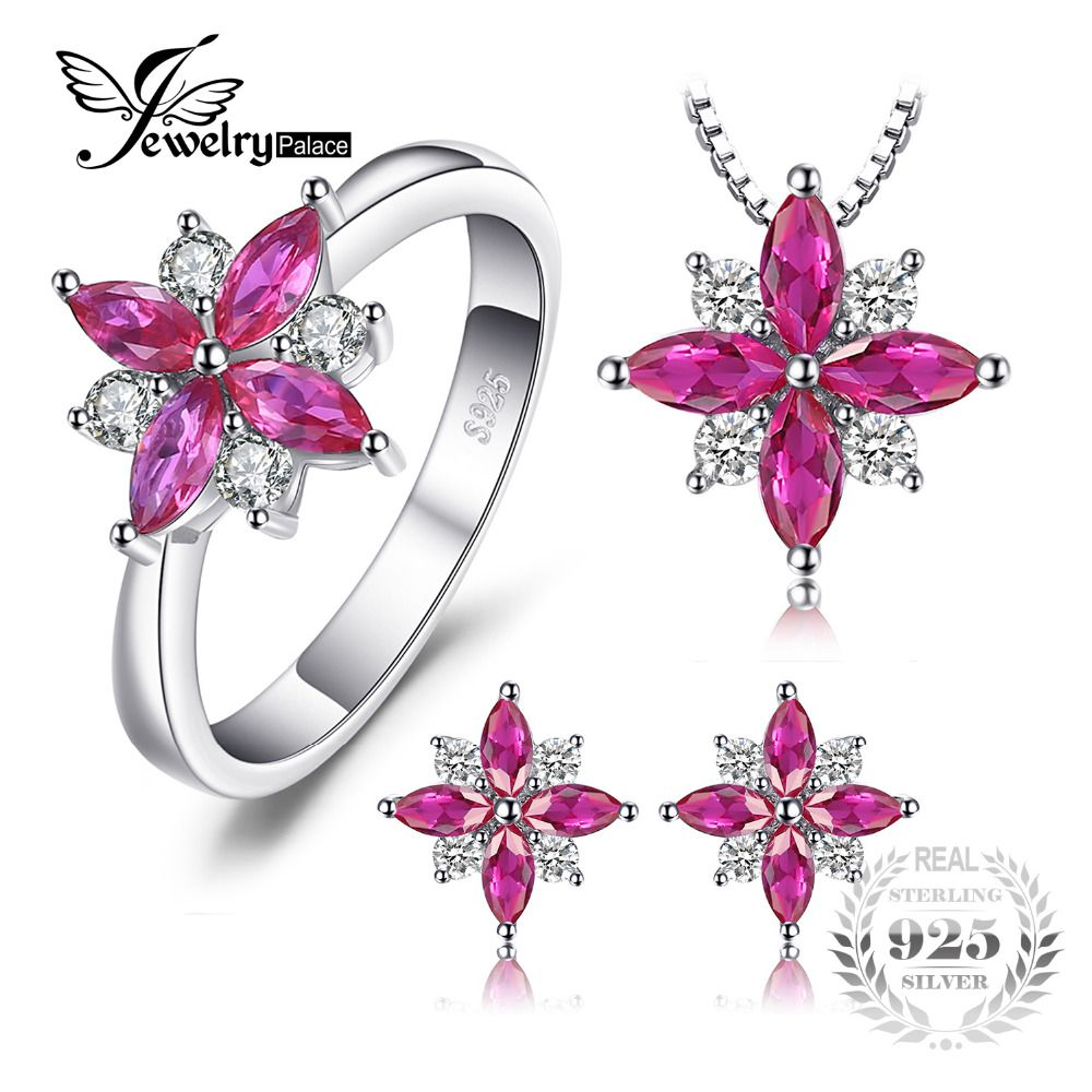 JewelryPalace Flowers 2.6ct Created Ruby Stud Earrings Pendant Necklace Ring Jewelry Sets 925 Sterling Silver 45mm Jewelry Set