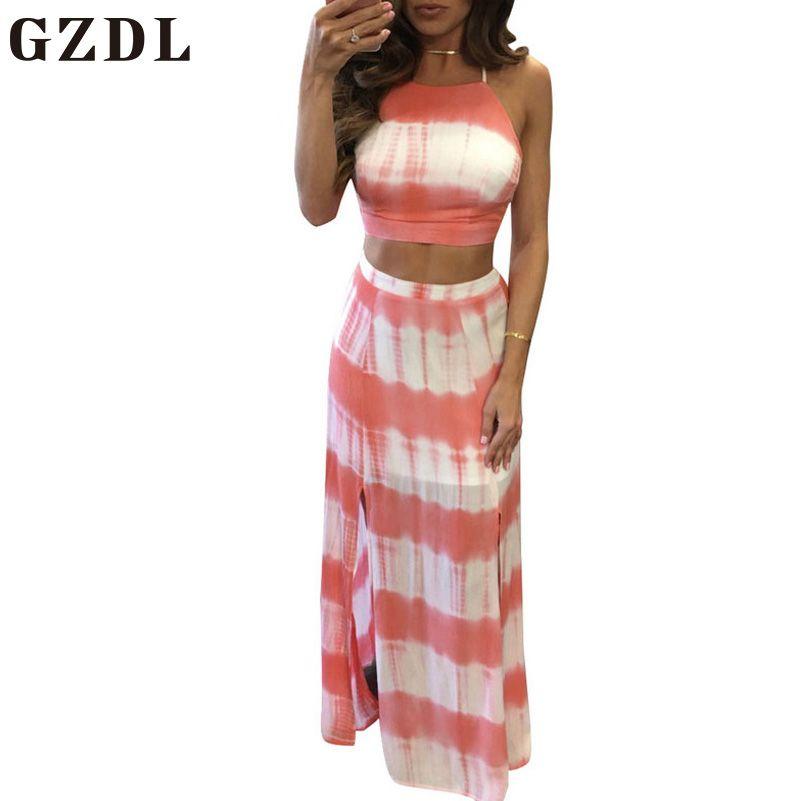 Gzdl casual Beach Party mujeres dos piezas Set estilo Correa geométrica sin mangas cosecha Top Tops split mujer Falda larga cl3856