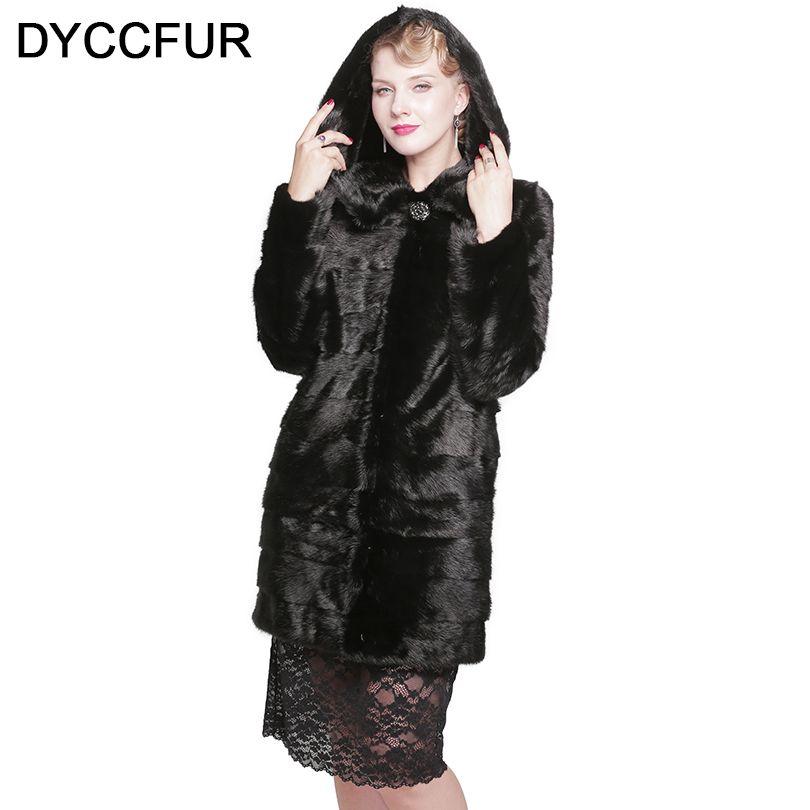 DYCCFUR 90 cm visón real abrigo de piel con capucha abrigo de piel largo genuino abrigo de piel desmontable mujeres natural dos estilo negro capucha abrigos