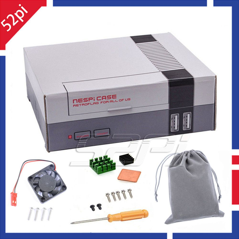 52Pi En Stock! Mini NES NESPI CAS Retroflag Kit avec Ventilateur De Refroidissement + Dissipateurs + Flanelle sac pour RetroPie Framboise Pi 3/2/B +