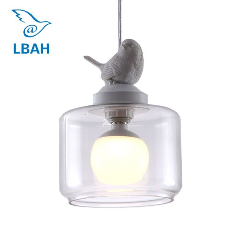 American country restaurant light children room light simple Nordic new balcony stair single head lamps lanterns birds droplight