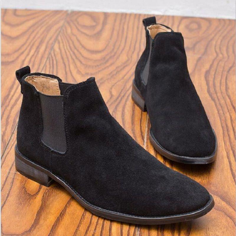 Y nuevo Chelsea Botas hombres Botas Casual Punta estrecha Otoño de Tubo Corto Botas de invierno Vaca Suede Masculino Homme Zapatos de Chico Guapo 40-45