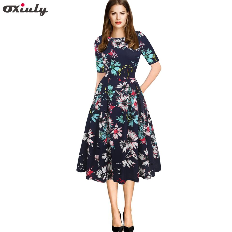 Oxiuly Elegant Women's Dresses Vintage Floral Printed Tunic Pinup Wear To Work Office Casual Party A Line Flare Skater Dress