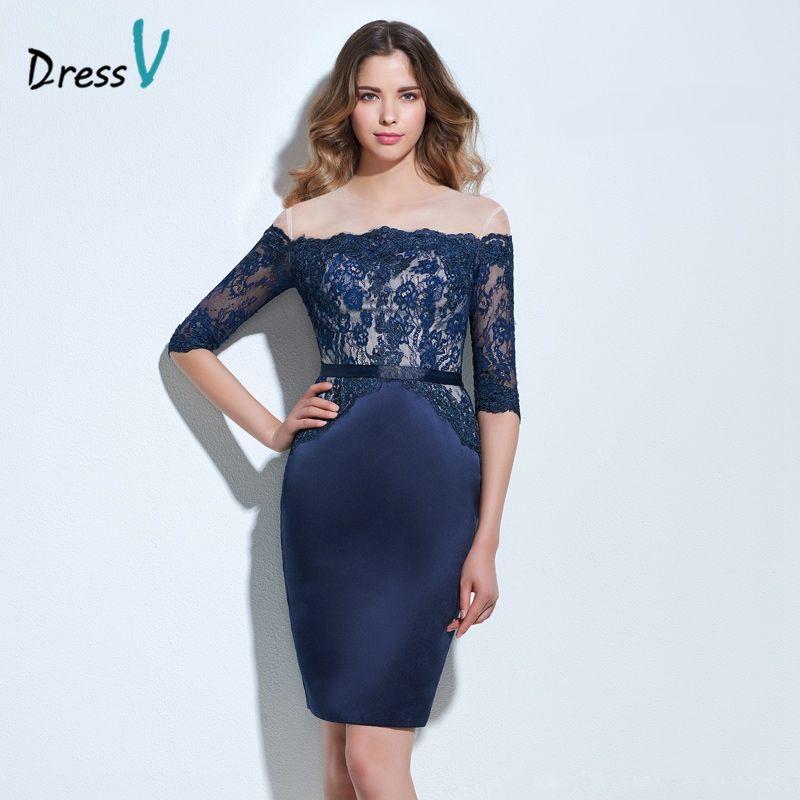 Dressv dark navy lace cocktail dress off the shoulder appliques half sleeves above knee formal party dress mini cocktail dress