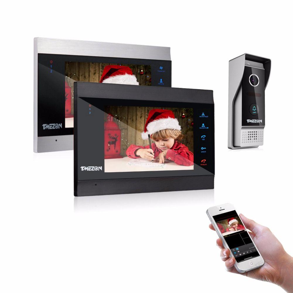 TMEZON 7 Inch Wireless/Wifi Smart IP Video Door Phone Intercom System with 2 Night Vision Monitor + 1 Rainproof Doorbell Camera