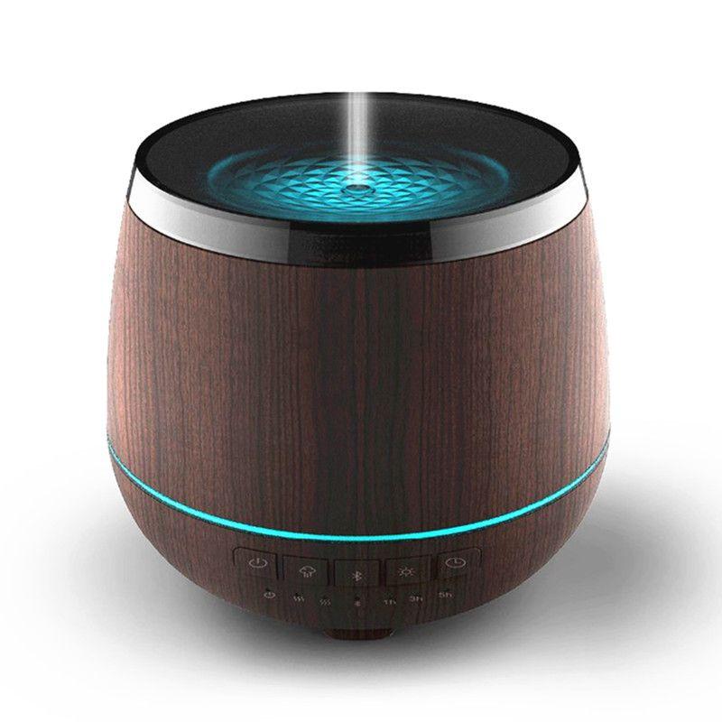Wood Grain Mist Humidifier Bluetooth Speaker Ultrasonic Aroma Essential Oil Diffuser 200ML for Study Yoga Spa Office Bedroom