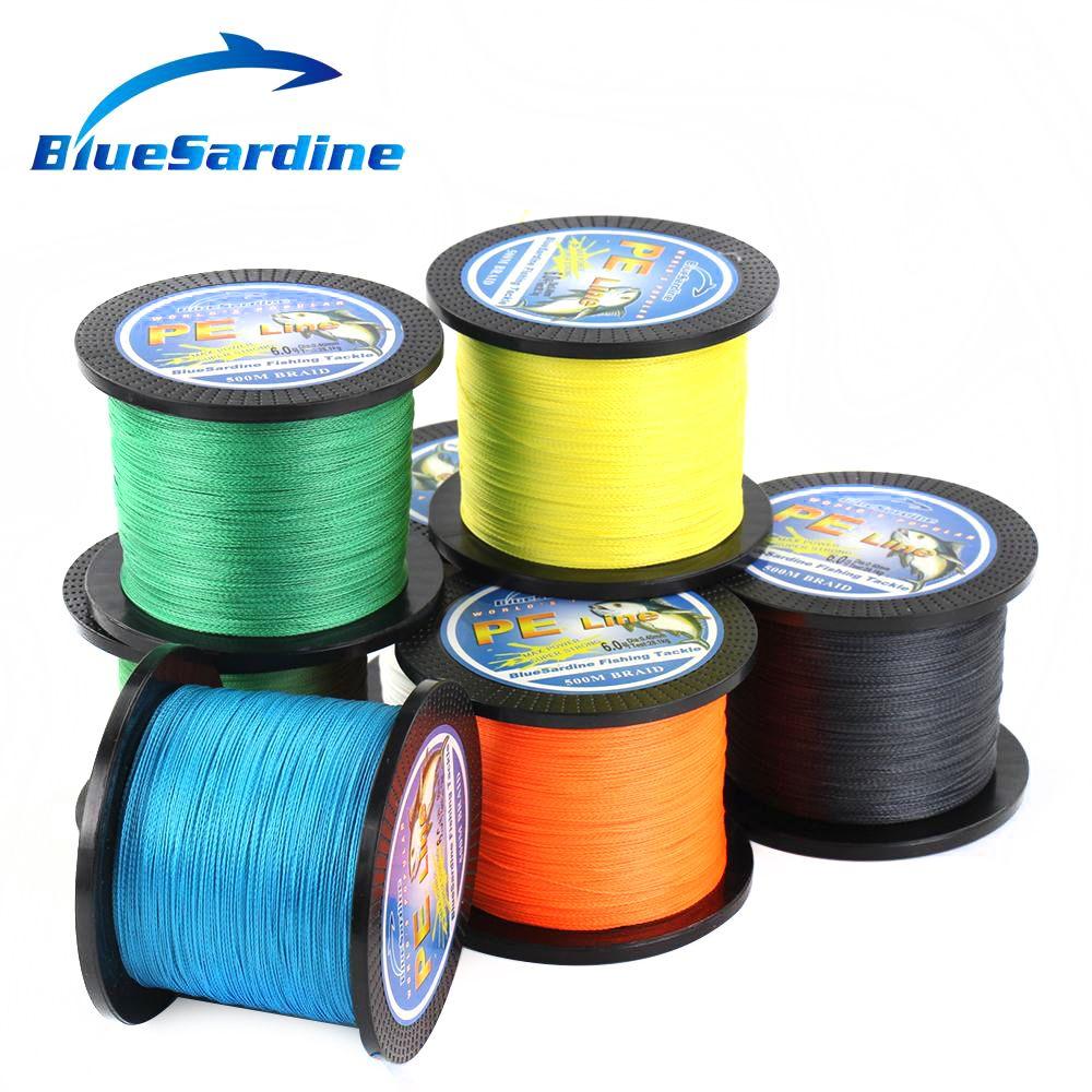 BlueSardine 500 M tressé ligne de pêche Multifilament PE tressé fil matériel de pêche 12LB-90LB