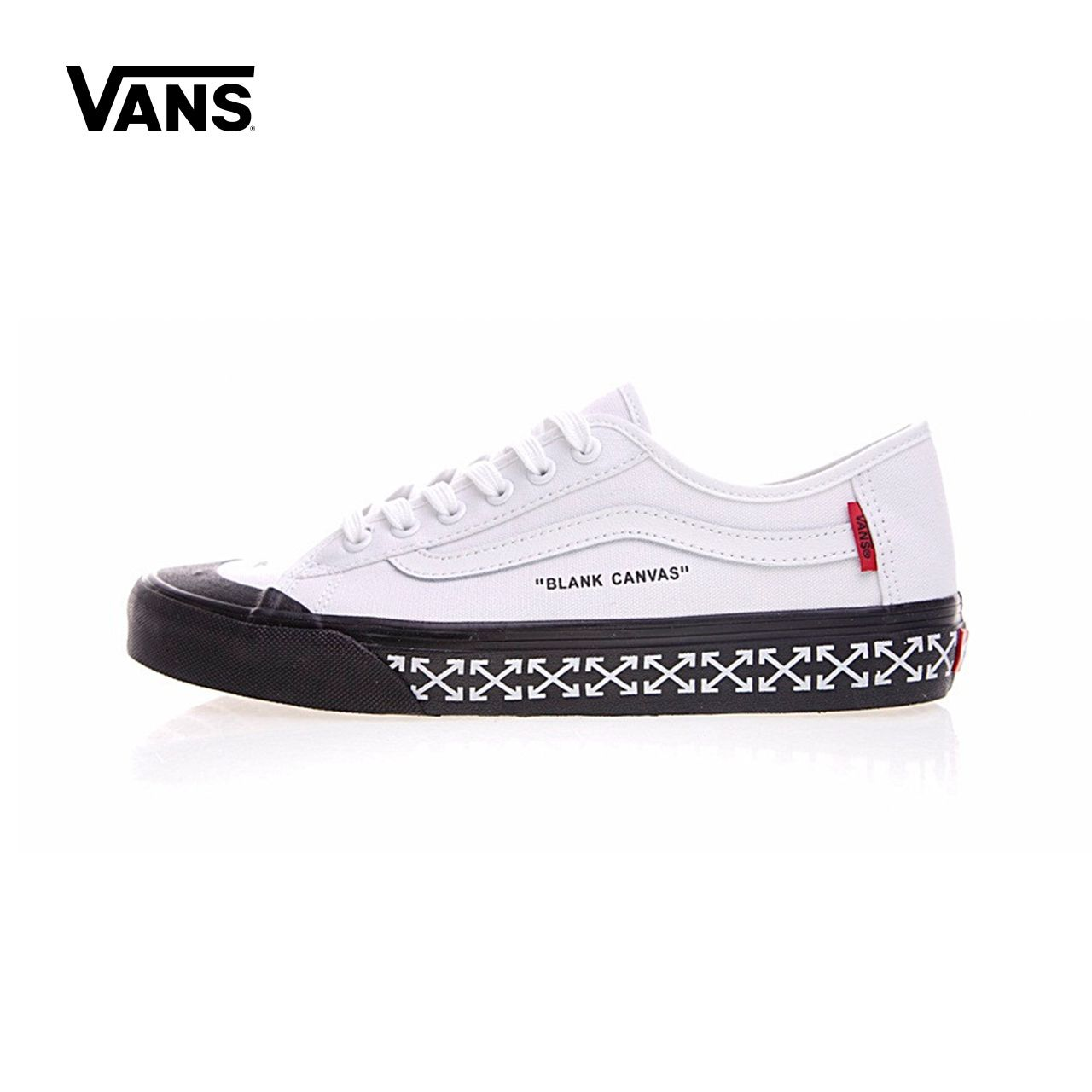 Original New Arrival Vans Men & Women's Classic Old Skool X OFF-WHITE Low-top Skateboarding Shoes Sneakers Canvas VN000D3HY2018