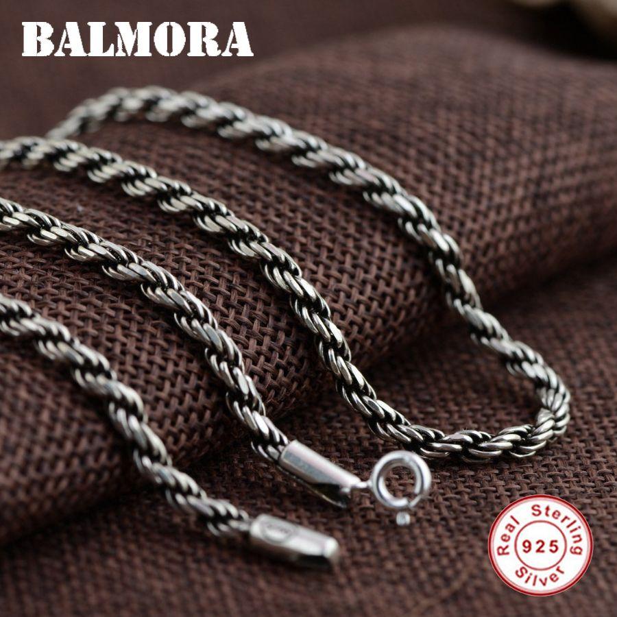 Балмора 100% реального стерлингового серебра 925 Винтаж Цепи Ожерелья для мужчин для Для мужчин мужской ювелирные изделия Интимные аксессуары...