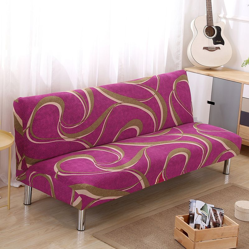 No Armrest Folding Plum red Sofa Cover All-inclusive Couch Case Tight Wrap Elastic Slipcover line Printed