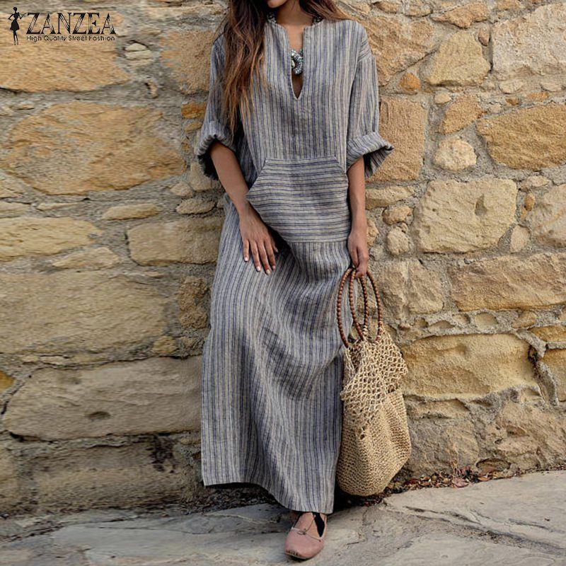 ZANZEA Women Striped Dress 2017 Autumn Vintage Casual Loose Maxi Long Dresses Sexy V Neck Long Sleeve Vestidos Plus Size