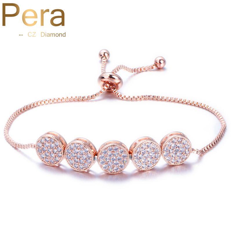 Pera nouveauté cadeau de noël 5 grand rond cubique zircone pierre Pave réglable chaîne Tennis Bracelet bijoux pour les femmes B088