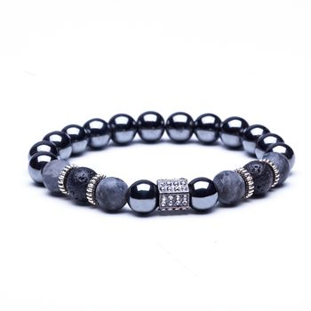 Lava Stone Natural Stone Beads Strand Bracelet for Men Crown Skull Pendant Charms Bracelet Male Jewelry Accessories Dropshipping