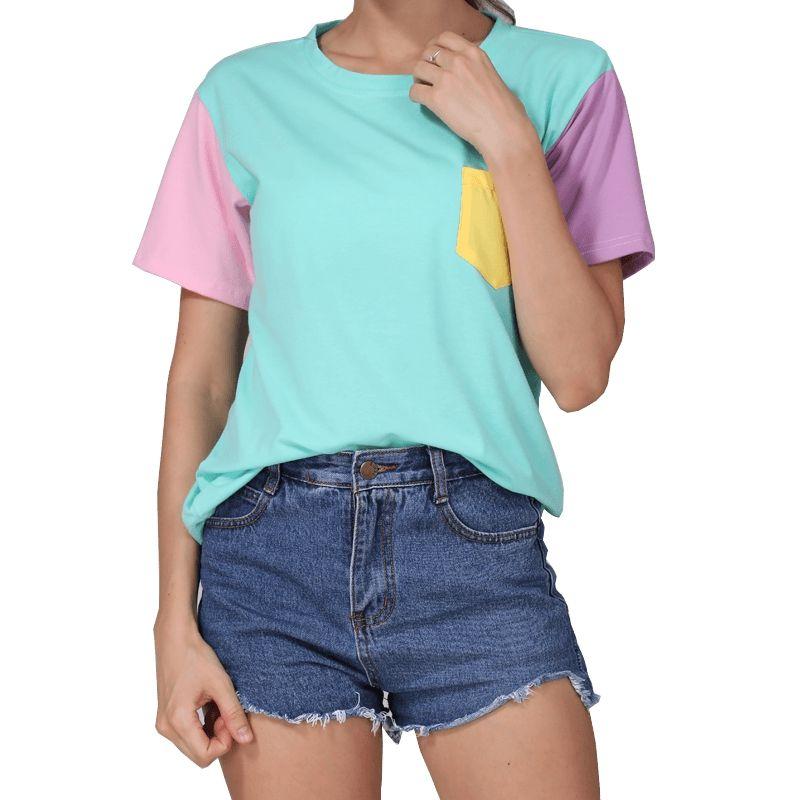 Mode d'été femmes Harajuku Patchwork t-shirts Kawaii décontracté coton sort couleur hauts Patchwork Kpop t-shirt livraison directe