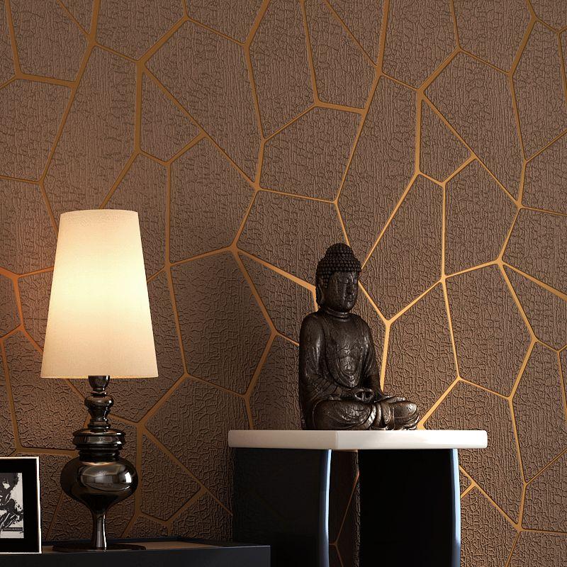 Роскошный современный геометрический узор утолщаются 3D стереоскопического нетканые Ткань стены Бумага Спальня Гостиная ТВ Задний план ст...