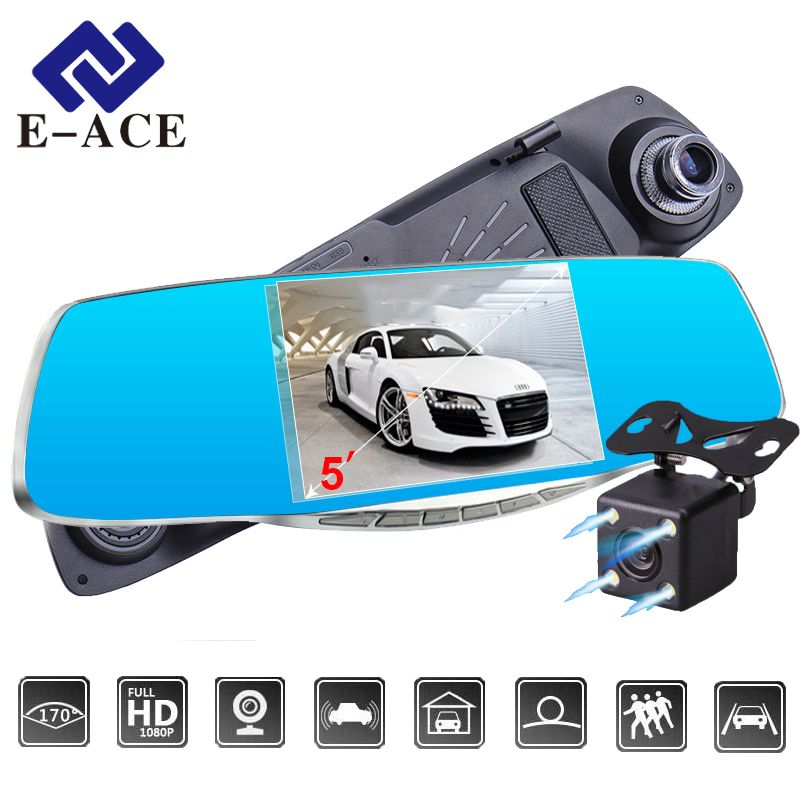 E-ACE Car DVR 5.0 Car camera Full HD 1080P Night Vision Auto Video Recorder Rear view Mirror Dual Lens Parking Monitor Dash Cam