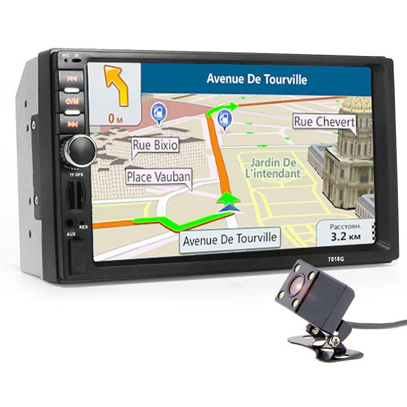 Autoradio 2 Din Car Radio Multimedia Player+GPS Navigation 7'' HD Touch Screen MP3 MP5 Audio Stereo Bluetooth USB AUX+Camera Map
